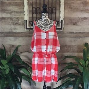 Pants - Red/White Gingham Cotton Romper